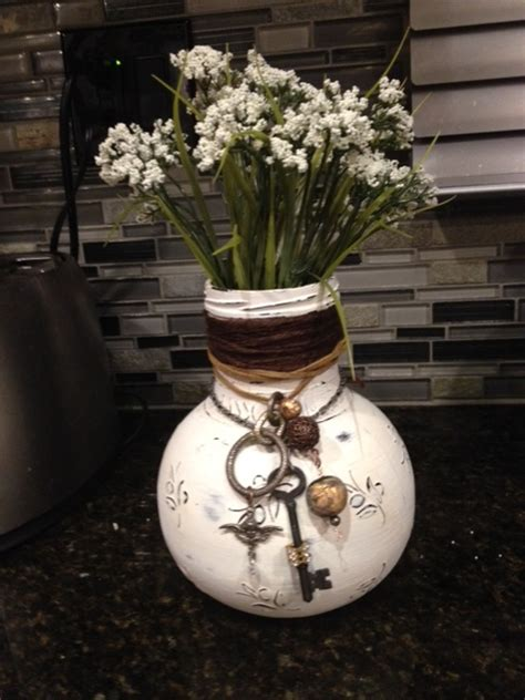 hometalk olive jar  repurposed  shabby chic vase