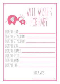 pink elephant baby shower printable well wishes for baby baby showe