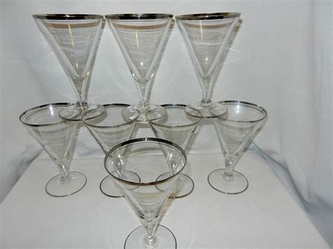 Pairpoint Ls by Vintage Silver Rimmed Stemware Water Glasses From