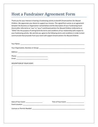 fundraising agreement template host a fundraiser event agreement form by dreamcatchers