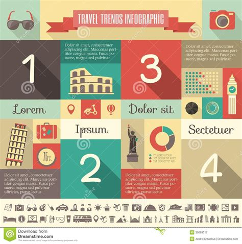 Travel Infographic Template Stock Vector Illustration Of Palm Airplane 35689317 Travel Infographic Template