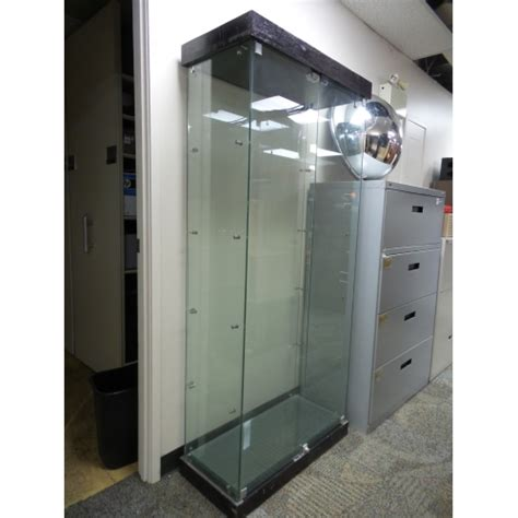used lockable glass display 5 shelf locking tempered glass display case 32 x 15 x 71