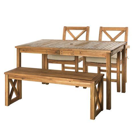 wood patio dining set acacia wood x back classic patio 4 dining set