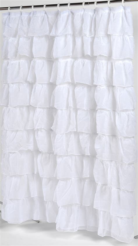 frilly shower curtain carnation home fashions carmen crushed voile ruffled tier