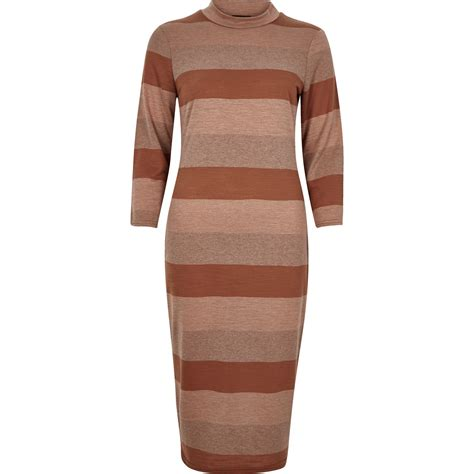 Turtle Stripe Dress river island brown stripe turtleneck bodycon dress in