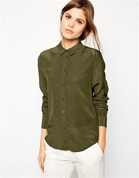 Blouse Button Back Premium asos asos premium silk blouse