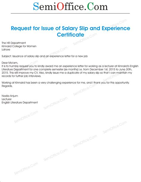Request Letter For Experience Certificate salary slip request letter format