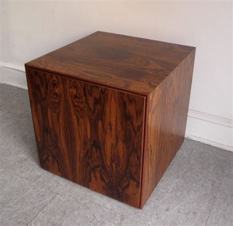 mid century modern rosewood storage cube end table