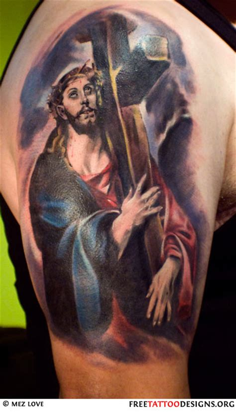 tattoo of jesus carrying the cross cross tattoo gallery