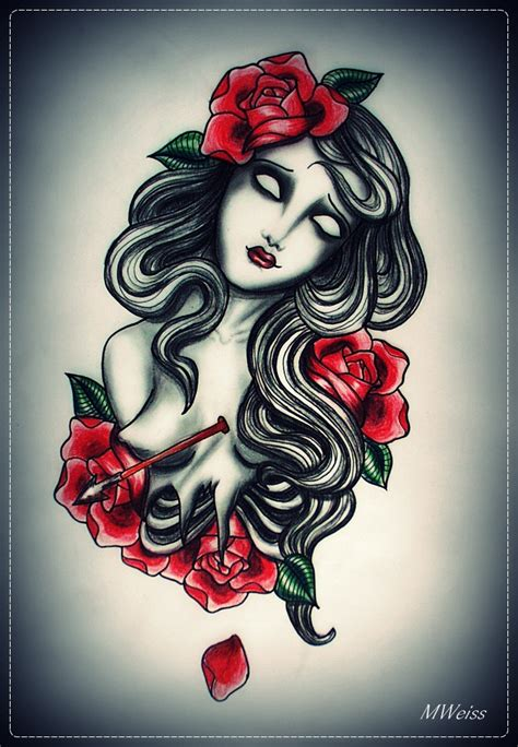 zombie girl tattoo designs dying flash by mweiss on deviantart