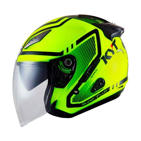 jual helm kyt galaxy slide motif yellow half visor fluo galeri helm indonesia