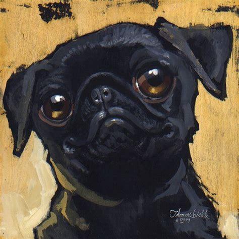 black pug painting black pug large
