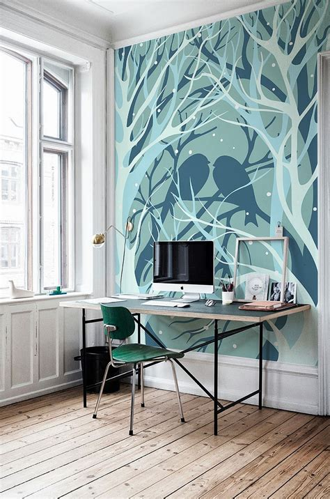 Workspaces Design with Wall Murals painting   Viahouse.Com