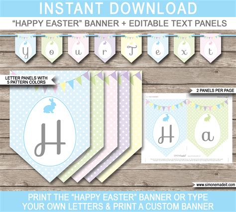 printable editable banner easter bunting template happy easter banner editable text