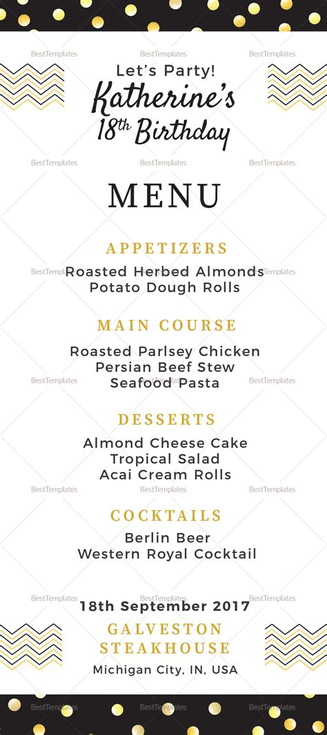 Birthday Dinner Party Menu Design Template In Psd Word Publisher Illustrator Indesign Birthday Menu Template