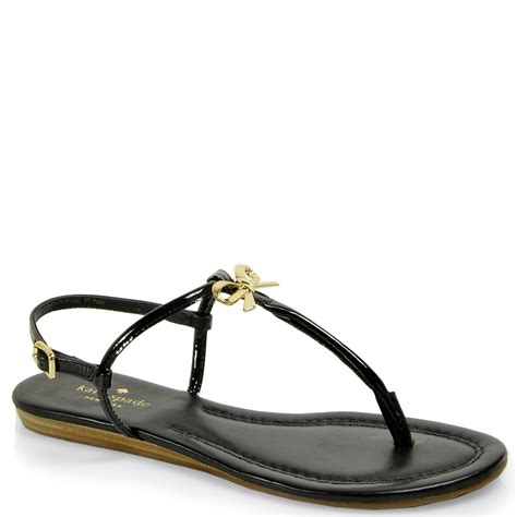 bow sandals kate spade tracie patent bow sandal in black lyst