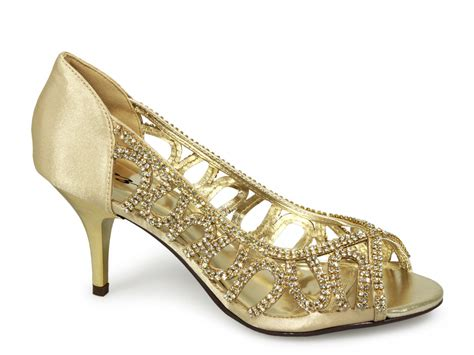 Gold Shoes by Poze Low Heel Evening Shoes Gold Buy From