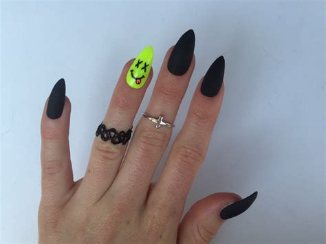 matte pointed nails 24 neon smiley and matte black stiletto nails neon festival