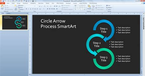 Simple Process Diagram Template In Powerpoint Using Smartart Powerpoint Presentation Powerpoint Smartart Cycle Templates