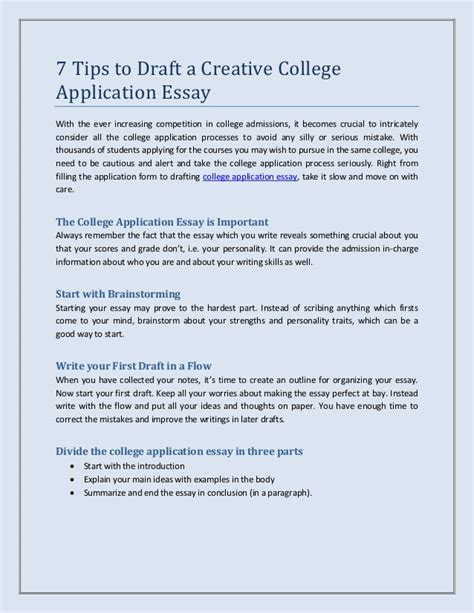 How To Write A College Admissions Essay by 7 Tips To Draft A Creative College Application Essay