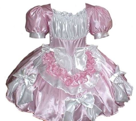 pinterest satin feminization satin sissy swiss maid bows dress pink and white custom