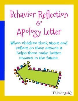 Apology Letter To A For Not Doing Homework Behavior Reflection Worksheets And On