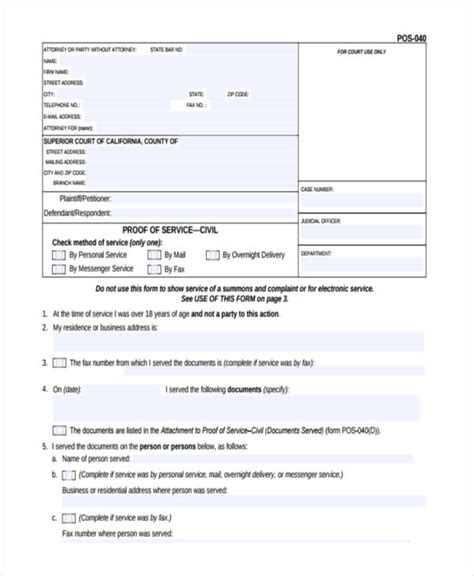 proof of service template 6 proof of service forms free sle exle format