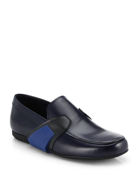 blue leather loafers lyst prada leather runway loafers in blue for