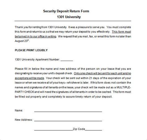 security deposit return receipt template 20 deposit receipt templates doc excel pdf free
