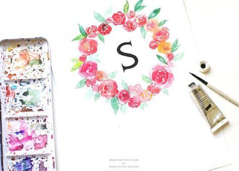 watercolor wreath tutorial watercolor floral wreath monogram dawn nicole designs 174
