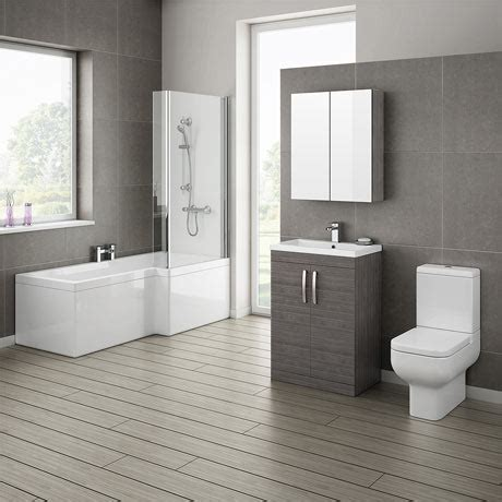 grey avola bathroom suite with l shaped bath