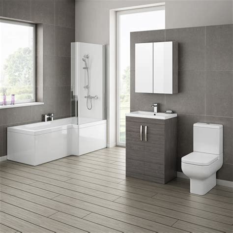 Bathroom Furniture Suites Grey Avola Bathroom Suite With L Shaped Bath Now