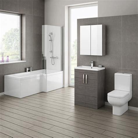 Brooklyn Grey Avola Bathroom Suite With L Shaped Bath Bathroom Furniture Suites