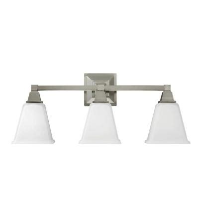 sea gull lighting denhelm 3 light brushed nickel wall bath