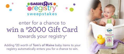 babysrus registry tom s of maine and babies r us registry sweepstakes