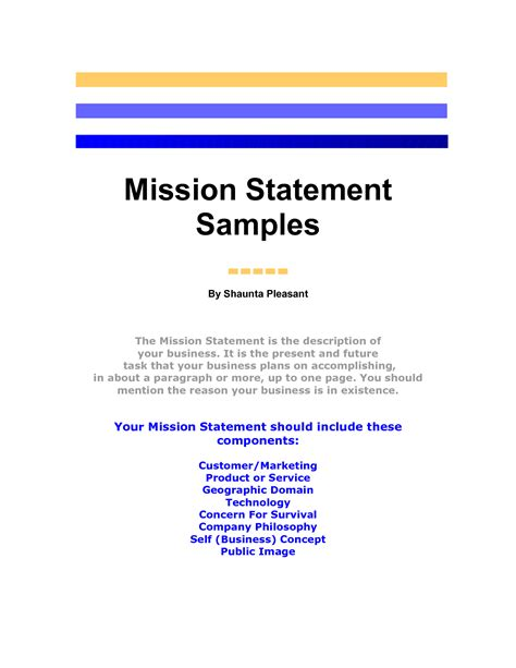 mission statement samples by yourbusinesspal qucinicc