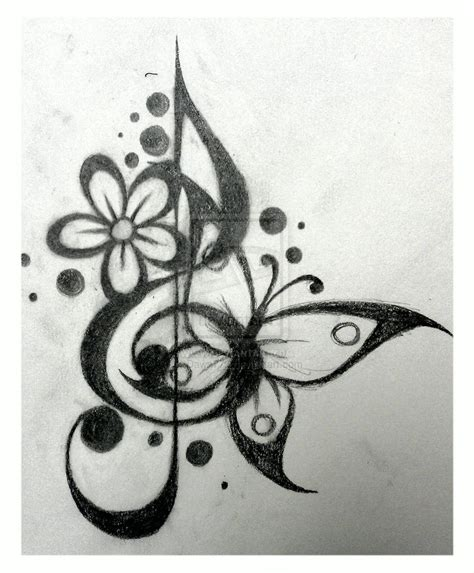 treble and bass clef heart tattoo