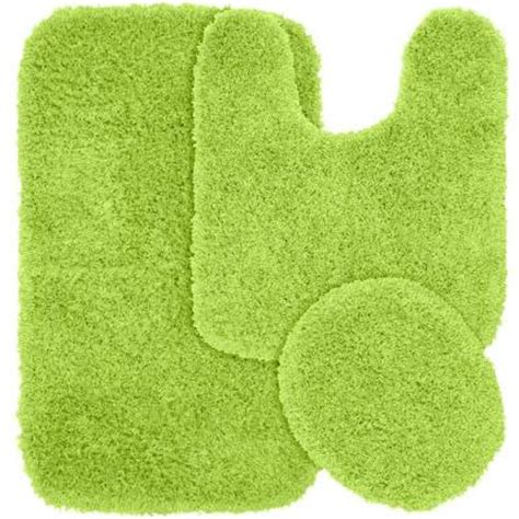 Lime Green Bathroom Rugs Garland Rug Jazz Lime Green 21 In X 34 In Washable Bathroom 3 Rug Set Ben 3pc 12 The