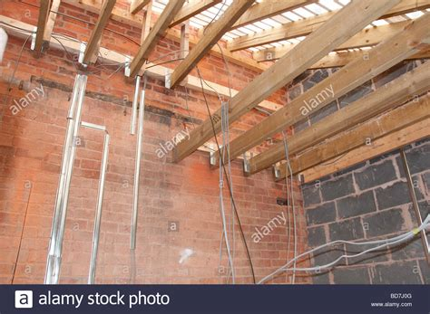 new electrical wiring in a house renovation project stock