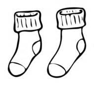 Clothing sock outline line art black and white
