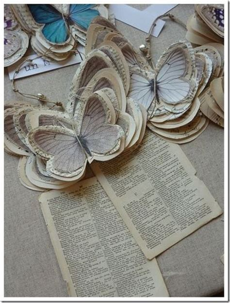 Book Paper Crafts - diy paper butterfly ornaments or tags from book pages