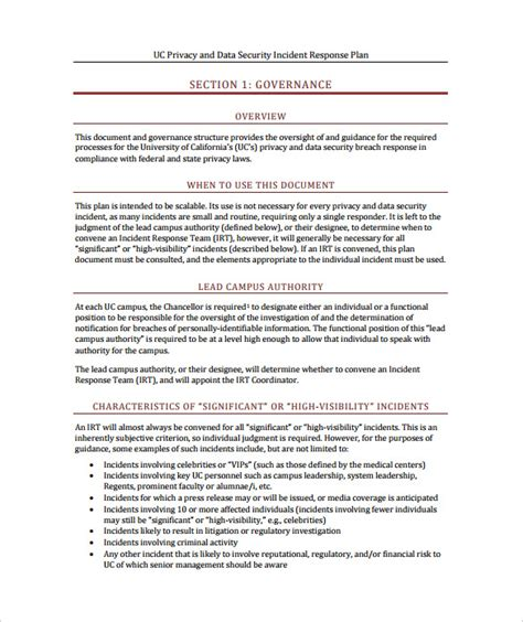 Cyber Incident Response Plan Template Cyber Incident Response Communications Plan August Incident Response Plan Template Nist