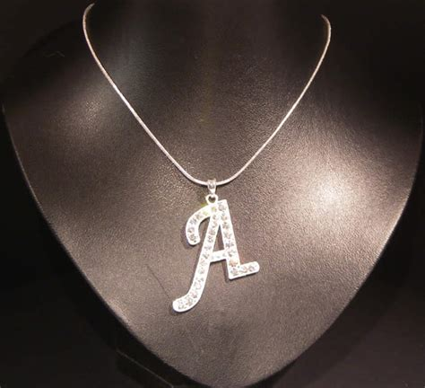 italic initial letter a necklace costume jewellery