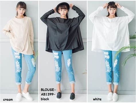 Baju Big Size Import Jual Baju Blus Tunik Panjang Big Size Katun Putih White