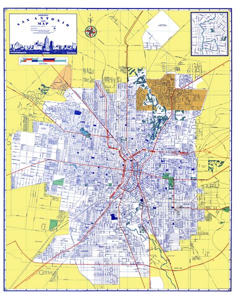 san antonio texas on map historic city maps san antonio texas tx by ashburn 1950