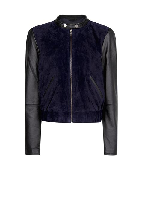 Comby Leather Jacket lyst mango combi leather bomber jacket in blue