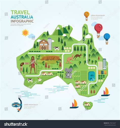 map layout graphic design info graphic travel landmark australia map stock vector