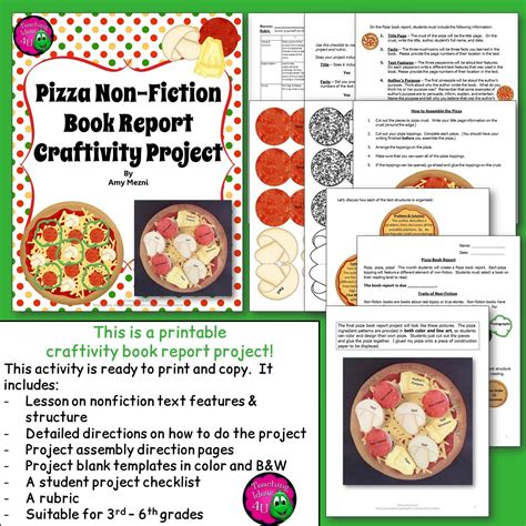nonfiction book report nonfiction pizza book report craftivity project text