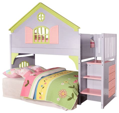 girls bunk beds with stairs girls loft bed with stairs drawers magazine rack