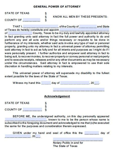 Free General Power Of Attorney Texas Form Adobe Pdf Free Poa Template